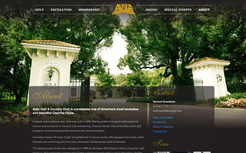 Screenshot of About Page avilagolf.com - About  |  Avila Golf and Country Club - captured Oct. 4, 2014