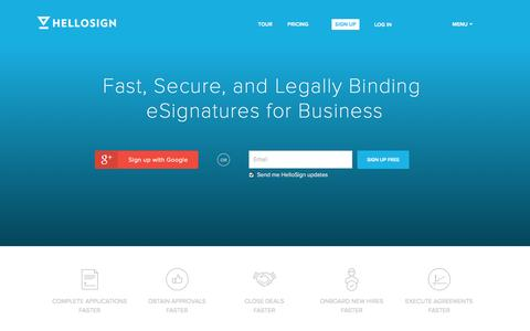 Screenshot of Home Page hellosign.com - Legally Binding Electronic Signatures | HelloSign - captured Sept. 16, 2014