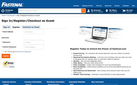 SignIn/Register/Checkout as Guest          | Fastenal