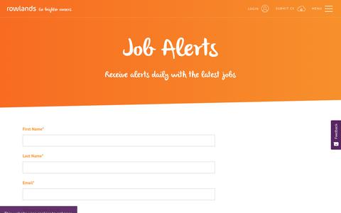 Screenshot of Signup Page rowlands.co.uk - Job Alerts | Rowlands Recruitment - captured Oct. 20, 2018