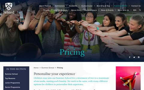 Screenshot of Pricing Page felsted.org - Junior and Senior Prices | Summer School | Felsted School - captured Oct. 10, 2018