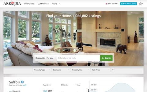 Screenshot of Menu Page arkadia.com - homes for sale by owner, commercial real estate and vacation rentals - captured Sept. 11, 2015