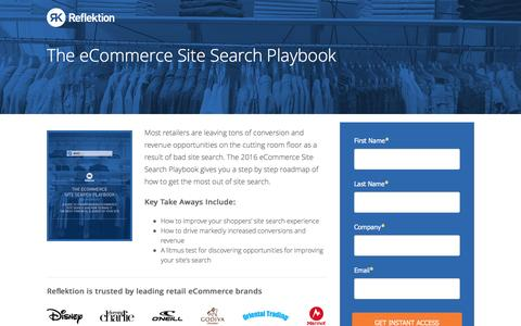 Screenshot of Landing Page reflektion.com - The eCommerce Site Search Playbook - captured Oct. 20, 2016