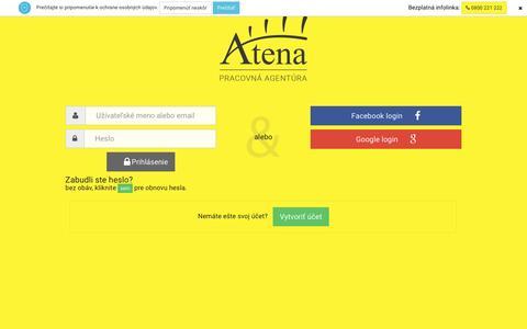 Screenshot of Login Page atena.sk - Prihlásenie | Atena.sk - captured Nov. 19, 2016
