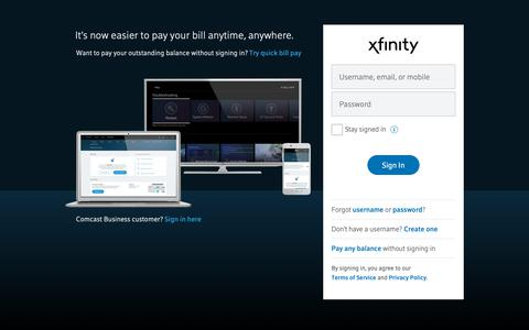 Screenshot of Login Page xfinity.com - Sign in to Xfinity - captured June 5, 2019