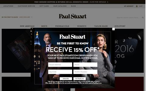 Screenshot of Home Page paulstuart.com - Paul Stuart - Fine Men's & Women's clothing - captured Sept. 30, 2016