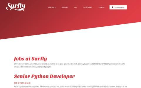 Screenshot of surfly.com - Jobs | Surfly - captured Nov. 5, 2015