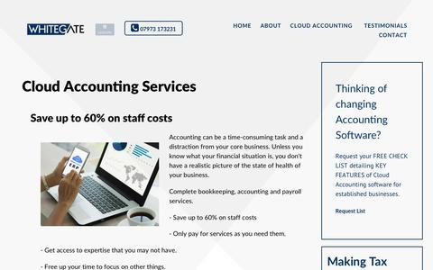 Screenshot of Services Page whitegate.co.uk - Cloud Accounting Services - captured Oct. 21, 2018