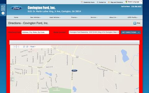 Screenshot of Maps & Directions Page covingtonford.net - Directions at Covington Ford, Inc. - Your Covington, Georgia Ford dealer - captured June 24, 2016