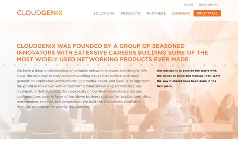 Screenshot of About Page cloudgenix.com - SD-WAN | CloudGenix | Company - captured Jan. 17, 2018