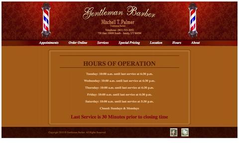 Screenshot of Hours Page gentlemanbarber.com captured Oct. 2, 2014