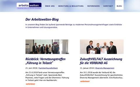 Screenshot of Blog arbeitswelten.at - Der Arbeitswelten-Blog - Arbeitswelten - captured Oct. 26, 2018
