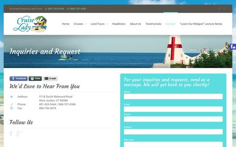 Screenshot of Contact Page cruiselady.com - Contact Us | Cruise Lady - captured Dec. 13, 2015