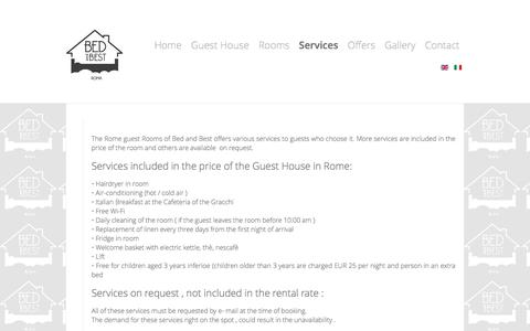 Screenshot of Services Page bedandbest.com - Rome guest Rooms: services - Guest house Rome - Bed and Best - captured Dec. 25, 2016
