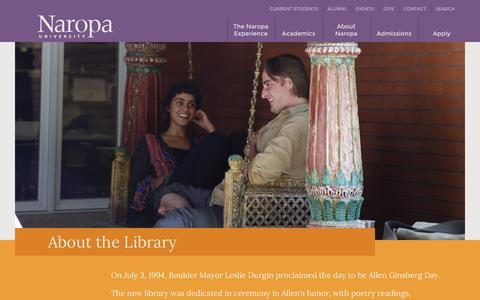 Screenshot of About Page naropa.edu - About the Library - captured Aug. 31, 2016