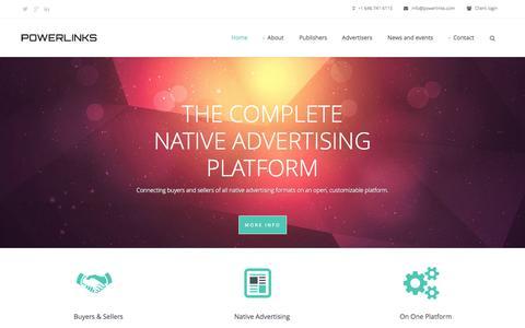 Screenshot of Home Page powerlinks.com - Powerlinks   Content & Native Advertising Platform - captured Sept. 19, 2014