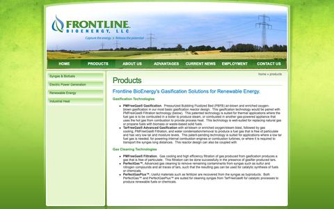 Screenshot of Products Page frontlinebioenergy.com - Products - Frontline BioEnergy - biomass energy, biomass gasification, waste to energy. - captured Nov. 14, 2018