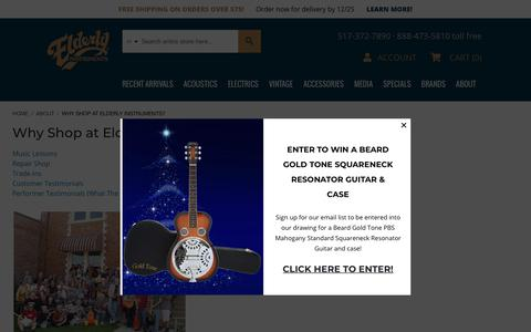 Screenshot of About Page elderly.com - Why Shop at Elderly Instruments? - About - captured Dec. 19, 2018