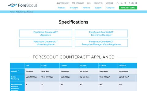 Specifications - ForeScout