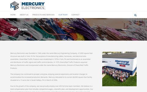 Screenshot of Team Page mercuryelectronics.com - Mercury Electronics |   Our Team - captured July 27, 2018