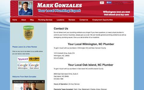 Screenshot of Contact Page capefearplumber.com - Contact Local Plumber Mark Gonzales   24 Hour Plumber in Wilmington NC & Oak Island NC - captured Oct. 26, 2014