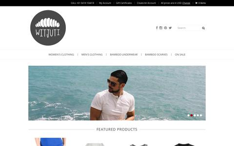 Screenshot of Home Page witjuti.com - Witjuti Bamboo Clothing | For Men and Women I Designed in Australia - captured Nov. 10, 2018