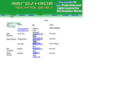 Screenshot of Contact Page aero-shade.com - Contact - captured Feb. 5, 2016