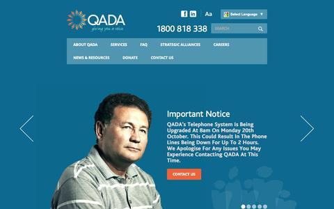 Screenshot of Home Page qada.org.au - Queensland Aged and Disability Advocacy (QADA) Inc. - captured Oct. 3, 2014