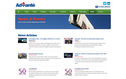 Screenshot of Press Page advante.co.uk - Latest news from Advanté - captured Oct. 7, 2017