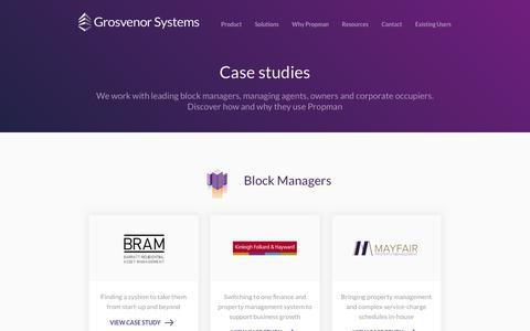 Screenshot of Case Studies Page grosvenorsystems.com - Case Studies | Grosvenor Systems - captured Nov. 11, 2018