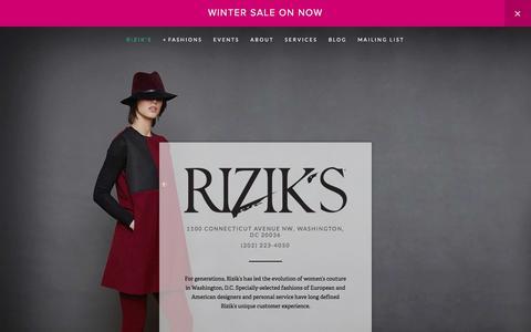 Screenshot of Home Page riziks.com - Rizik's — Luxury Womens Designer Coats for Sale Washington  DC - captured Feb. 28, 2016