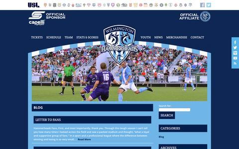 Screenshot of Blog wilmingtonhammerheads.com - Latest Soccer News   Wilmington Hammerheads FC - captured Jan. 22, 2016
