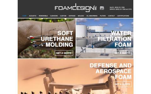 Screenshot of Home Page foamdesign.com - Foam Design - captured Feb. 10, 2016