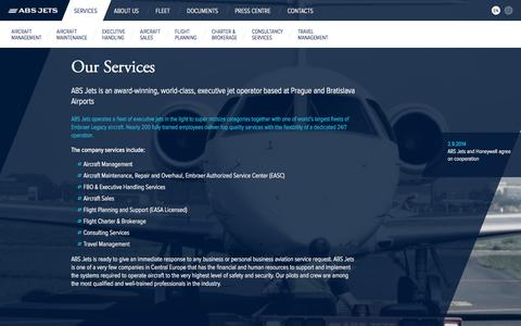 Screenshot of Services Page absjets.com - Our Services / ABS Jets – Executive Jets Operator - captured Sept. 30, 2014