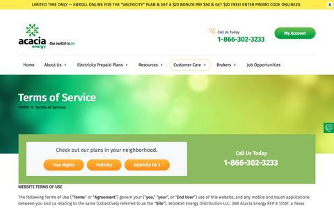 Screenshot of Terms Page acaciaenergy.com - Terms of Service - Prepaid Electricity from Acacia Energy Texas - captured Sept. 26, 2018