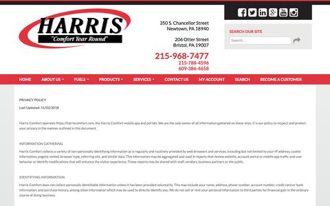 Screenshot of Privacy Page harriscomfort.com - Harris Comfort - Privacy Policy - captured Nov. 4, 2018