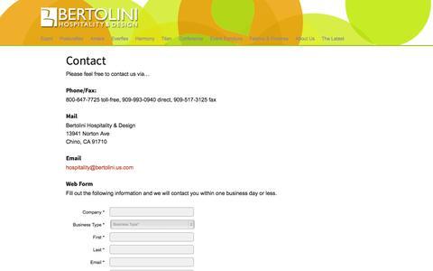Screenshot of Contact Page bertolinihd.com - Contact - Bertolini Hospitality & Design - captured Oct. 5, 2014
