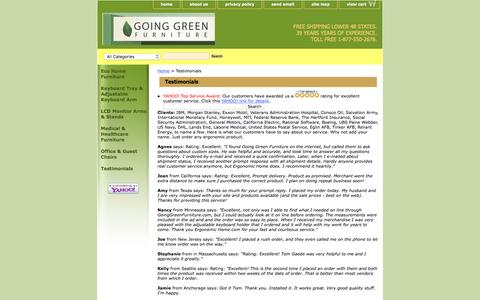 Screenshot of Testimonials Page goinggreenfurniture.com - Testimonials - captured April 10, 2017
