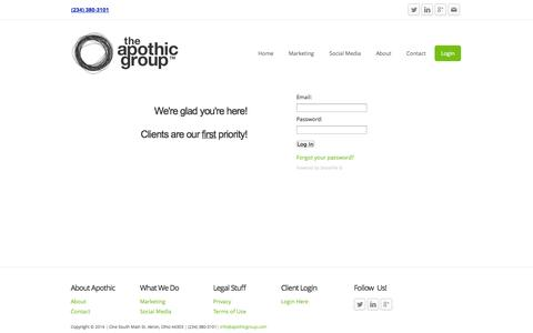 Screenshot of Login Page apothicgroup.com - Login - The Apothic Group - captured Oct. 7, 2014