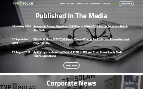 Screenshot of Press Page tvpsolar.com - TVP Solar - captured Feb. 7, 2020