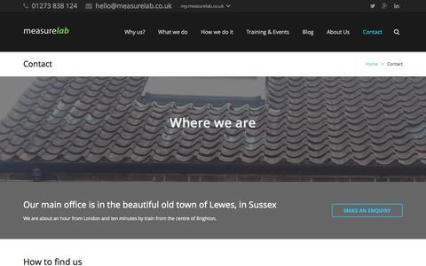 Screenshot of Contact Page measurelab.co.uk - Contact - Measurelab - captured Jan. 9, 2016