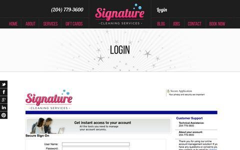 Screenshot of Login Page signaturecleaning.ca - Login   Signature Cleaning - captured Dec. 1, 2016