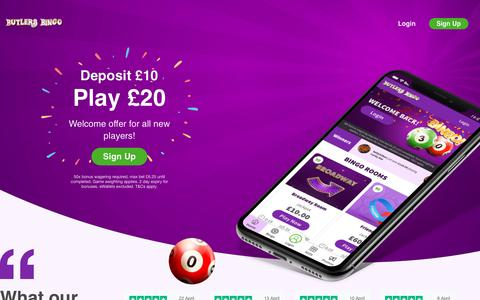 Screenshot of Home Page butlersbingo.com - Butlers Bingo for great Bingo and slots, with free spins and new player bonus. - captured May 3, 2019
