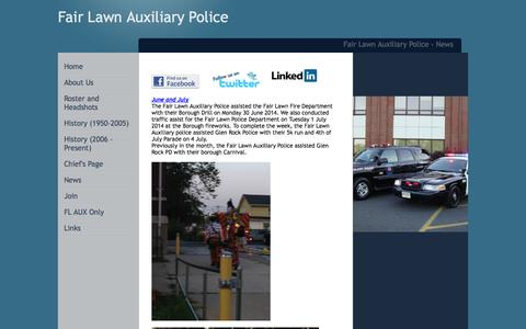 Screenshot of Press Page fairlawnauxpolice.com - Fair Lawn Auxiliary Police - News - captured Oct. 5, 2014