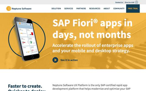 Screenshot of Home Page neptune-software.com - SAP Fiori App Development | Enterprise Mobile Apps | Neptune Software - captured Feb. 2, 2018