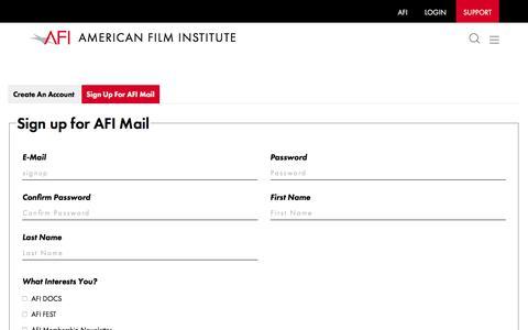 Screenshot of Signup Page afi.com - Sign Up | American Film Institute - captured Feb. 15, 2020
