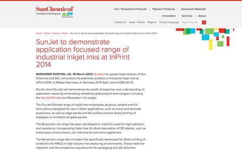 SunJet to demonstrate application focused range of  industrial inkjet inks at InPrint 2014