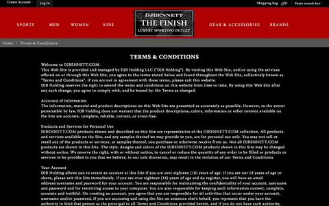 Screenshot of Terms Page thefinishbydjbennett.com - Terms & Conditions - captured March 5, 2016