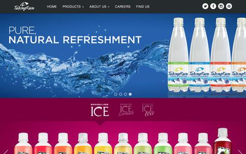 Screenshot of Home Page talkingrain.com - Talking Rain - Bold Flavors, Zero Calories, Perfectly Possible™ - captured Jan. 27, 2016