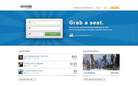 Screenshot of Home Page zimride.com - Ridesharing, carpooling and buses - Zimride - captured July 10, 2014